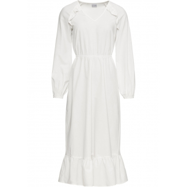 Volant-Kleid mit Leinen-Anteil langarm  in weiß für Damen von bonprix