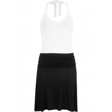 Geschmackvolles Strandkleid in Shirt- und Rockoptik ohne Ärmel  in weiß für Damen von bonprix