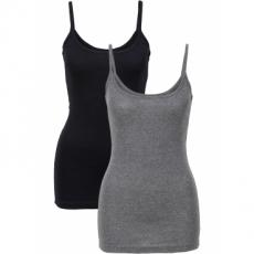 2er-Pack Tops ohne Ärmel  in schwarz für Damen von bonprix