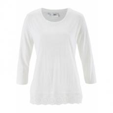 3/4-Arm-Flammgarn-Shirt mit Spitze in weiß für Damen von bonprix