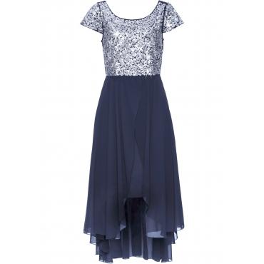 Abend-Vokuhila-Kleid kurzer Arm  in blau für Damen von bonprix