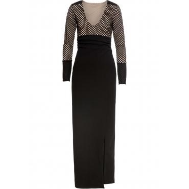 Abendkleid langarm  in schwarz (V-Ausschnitt) von bonprix