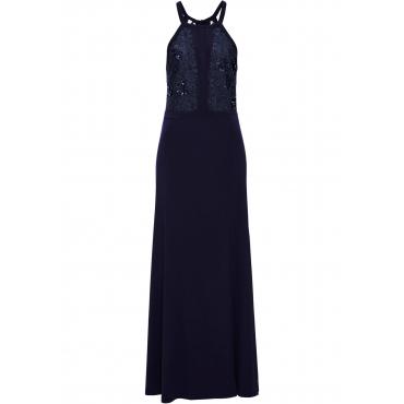 Neckholder-Kleid mit Spitze und Pailletten ohne Ärmel  in blau für Damen von bonprix