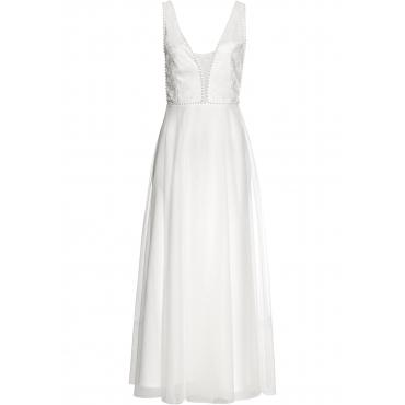 Brautkleid ohne Ärmel  in weiß (Rundhals) für Damen von bonprix