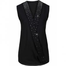 Ärmellose Bluse mit Wickeloptik ohne Ärmel  in schwarz von bonprix
