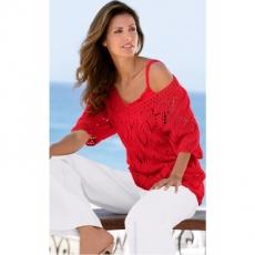 Ajour-Pullover kurzer Arm  in rot für Damen von bonprix