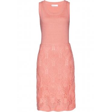 Ajour-Strickkleid ohne Ärmel  in rosa für Damen von bonprix