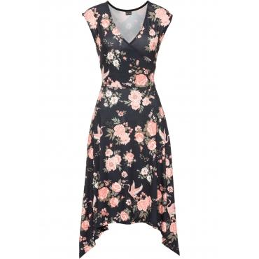 Asymmetrisches Kleid ohne Ärmel  in schwarz für Damen von bonprix