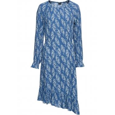 Asymmetrisches Midikleid langarm  in blau für Damen von bonprix
