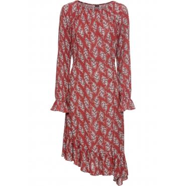 Asymmetrisches Midikleid langarm  in rot für Damen von bonprix