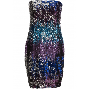 Bandeau-Kleid mit Pailletten ohne Ärmel  in silber für Damen von bonprix