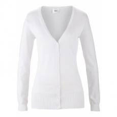 Basic Feinstrick-Jacke langarm  in weiß für Damen von bonprix
