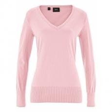 Basic Feinstrick-Pullover langarm  in rosa für Damen von bonprix