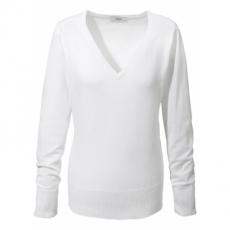 Basic Feinstrick-Pullover langarm  in weiß für Damen von bonprix