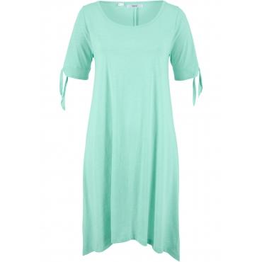 Baumwoll Flammgarn-Jerseykleid mit Schulter-Schlitz kurzer Arm  in grün für Damen von bonprix