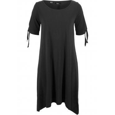 Baumwoll Flammgarn-Jerseykleid mit Schulter-Schlitz kurzer Arm  in schwarz für Damen von bonprix
