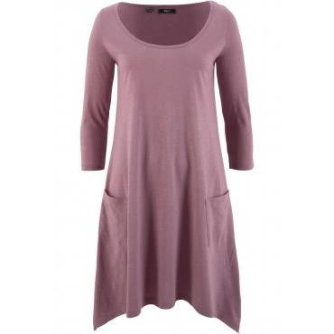 Baumwoll-Flammgarn-Shirtkleid, 3/4-Arm in lila für Damen von bonprix