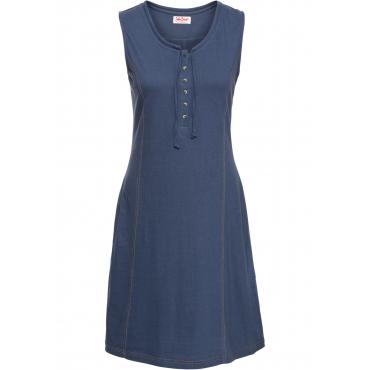 Baumwoll Jerseykleid mit Knopfleiste ohne Ärmel  in blau für Damen von bonprix