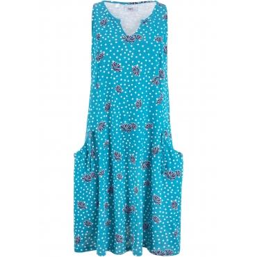 Baumwoll-Shirt-Kleid mit Taschen, A-Linie ohne Ärmel  in petrol für Damen von bonprix