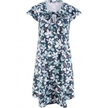 Baumwoll- Shirtkleid, bedruckt kurzer Arm  in blau von bonprix