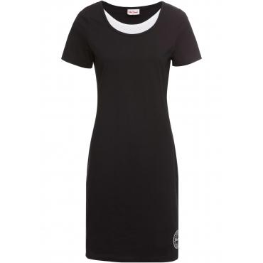 Baumwoll Jerseykleid kurzer Arm  in schwarz für Damen von bonprix