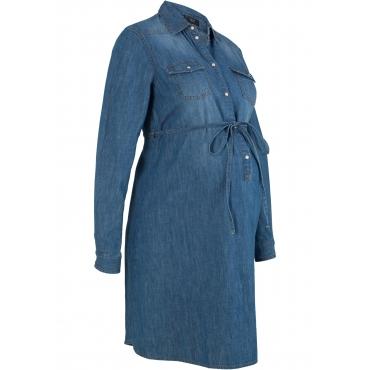 Baumwoll-Umstandsjeanskleid / Jeans-Stillkleid langarm  in blau für Damen von bonprix