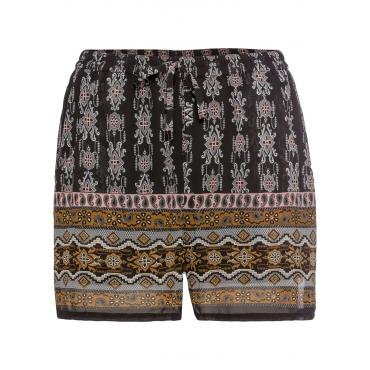 Bedruckte Chiffon-Shorts in schwarz für Damen von bonprix