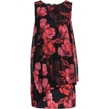 Bedrucktes Jersey-Kleid mit Chiffon ohne Ärmel  in schwarz für Damen von bonprix