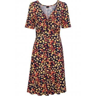 Bedrucktes Jersey-Kleid mit Drapierung halber Arm  in blau für Damen von bonprix