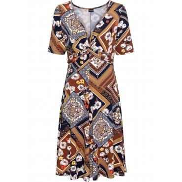 Bedrucktes Jersey-Kleid mit Drapierung halber Arm  in braun für Damen von bonprix