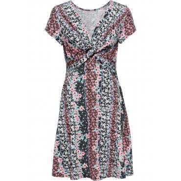 Bedrucktes Jersey-Kleid mit Drapierung kurzer Arm  in pink für Damen von bonprix