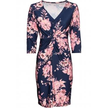 Bedrucktes Jersey-Kleid mit Drapierung langarm  in blau für Damen von bonprix