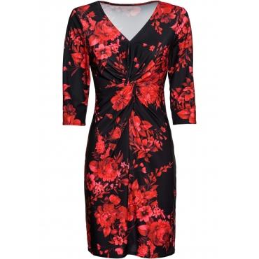Bedrucktes Jersey-Kleid mit Drapierung langarm  in schwarz für Damen von bonprix