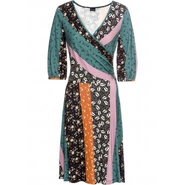bedrucktes Jerseykleid 3/4 Arm  in petrol für Damen von bonprix