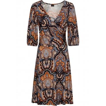 bedrucktes Jerseykleid 3/4 Arm  in schwarz für Damen von bonprix