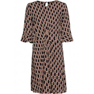 Bedrucktes Kleid mit Drapierung halber Arm  in blau für Damen von bonprix