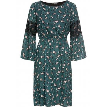 Bedrucktes Kleid mit Spitze 3/4 Arm  in grün für Damen von bonprix