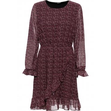 Bedrucktes Kleid mit Volants langarm  in rot für Damen von bonprix