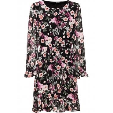 Bedrucktes Kleid mit Volants langarm  in schwarz für Damen von bonprix