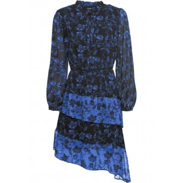 bedrucktes Kleid mit Volants: Must Have langarm  in schwarz für Damen von bonprix