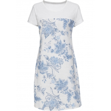 Bedrucktes Leinenkleid kurzer Arm  in weiß für Damen von bonprix