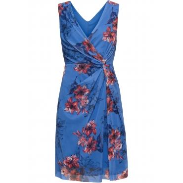 Bedrucktes Meshkleid mit Drapierung ohne Ärmel  in blau für Damen von bonprix