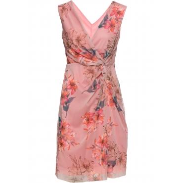 Bedrucktes Meshkleid mit Drapierung ohne Ärmel  in rosa für Damen von bonprix