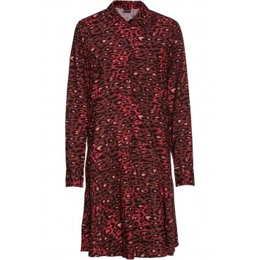 Bedrucktes Tunika-Kleid mit Knopfleiste langarm  in rot für Damen von bonprix
