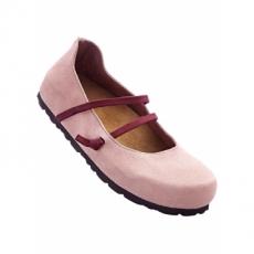 Bequeme Lederriemchenballerina in rosa für Damen von bonprix