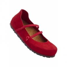Bequeme Lederriemchenballerina in rot für Damen von bonprix