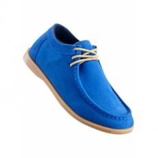 bequemer Keilschnürschuh aus Leder in blau von bonprix