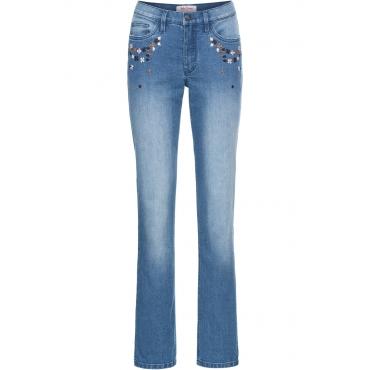 Bestickte Stretch-Jeans STRAIGHT in blau für Damen von bonprix