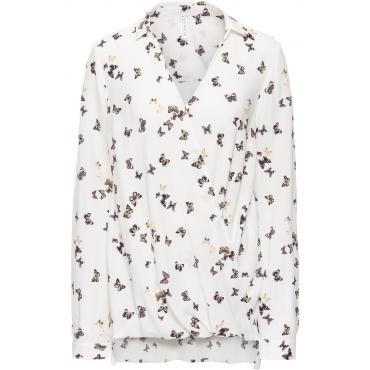 Bluse in Wickeloptik langarm  in weiß von bonprix