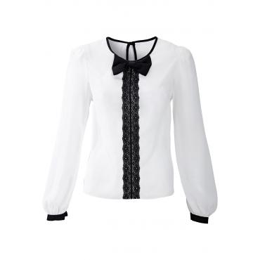 Bluse langarm  figurbetont  in weiß (Rundhals) von bonprix